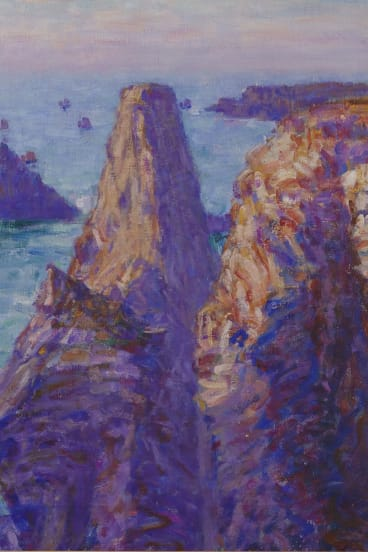 Russell's painting, The Needles, shows the imposing rocks of the same name rising from Belle Ile. John Russell The Needles, Winter Sun, Belle-Ile, 1903, oil on canvas, 65.5cm x 65.5cm, The Wesfarmers Collection of Australian Art, Perth