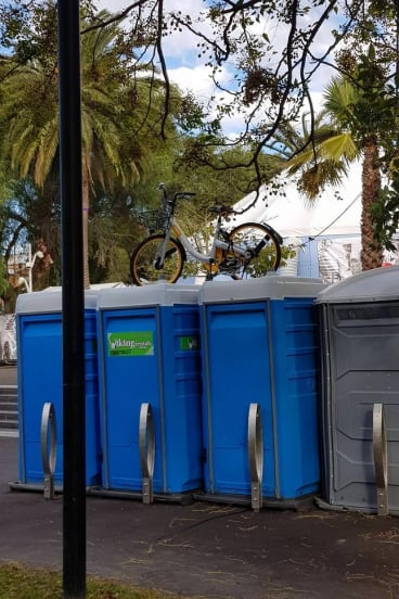 An oBike was left on top of portable toilets in Prahran in August 2017.