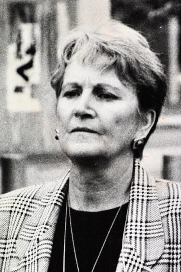 Widow Gwen Winchester leaves the Coroner's Court in 1992.