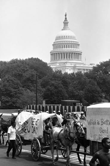 People walk beside wagons of the mule train of the Poor People's Campaign as it makes its way through Washington on June 25, 1968.