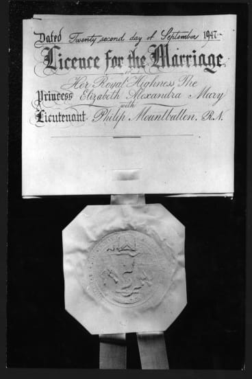 The marriage certificate of Princess Elizabeth and Philip Mountbatten.