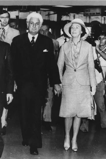 Sir John Kerr and wife Lady Kerr at Sydney Airport in 1978.