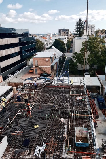 The construction site on Emerald Street in West Perth.