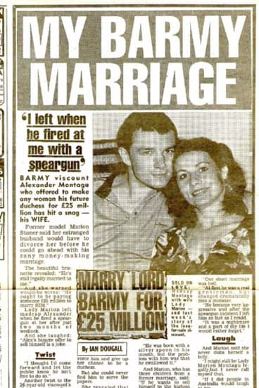 Making headlines ... Alex Montagu with first wife Marion Stoner.