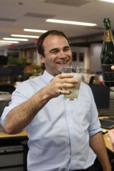 Reuters journalist Jason Szep celebrates his Pulitzer win.