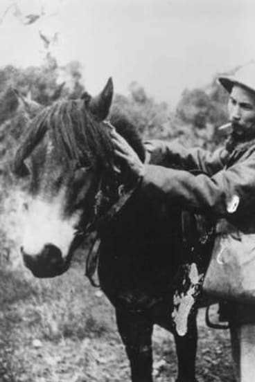 Vietnamese communist leader Ho Chi Minh (Nguyen Tat Thanh, 1890-1969) prepares to mount a pony during an offensive against the French in 1944.