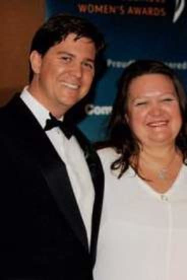 Happier times … Gina Rinehart with son John and daughter Ginia in Melbourne in 2009.