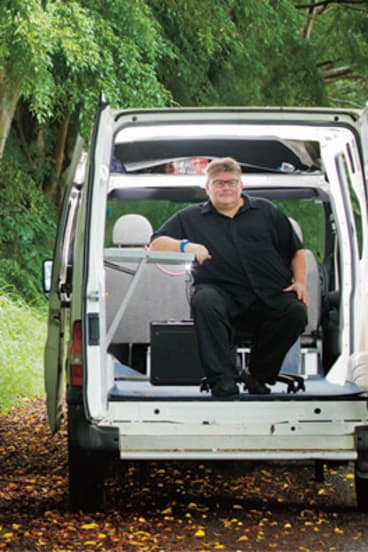 Thinking big … Richardson in his van, which doubles as a mobile thinktank.
