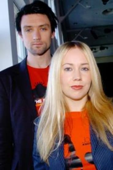 Something for Kate: (From left) Paul Dempsey, Stephanie Ashworth and Clint Hyndman. Dempsey was haunted by Bowie's ''scary clown'' in the Ashes to Ashes film clip.