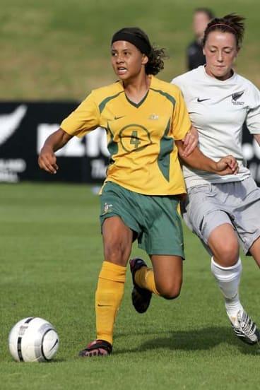 Star . . . Australia's sixteen-year-old Samantha Kerr scored the Matilda's goal in the first half.