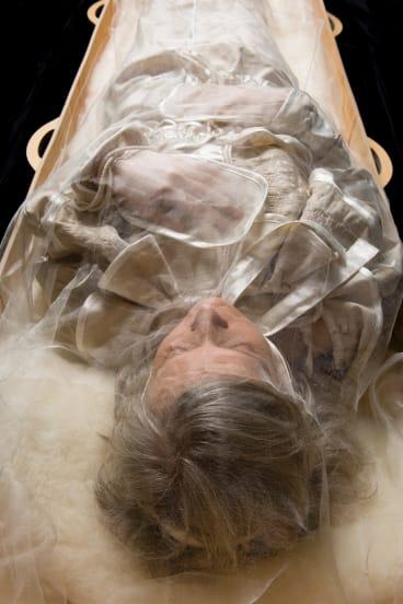 Burial garments by Pia Interlandi, worn by model Diana.