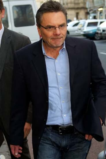 Mitchell Anderson Former Securency executive leaves the Melbourne Magistrates Court after being arrested in the early hours of the morning.