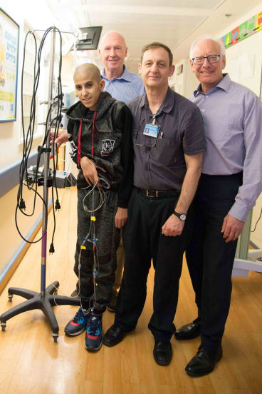 A boy from Gaza with Professor Michael Weintraub at Hadassah Hospital, Jerusalem.