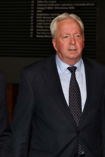 John McGuigan leaving the ICAC after giving evidence.