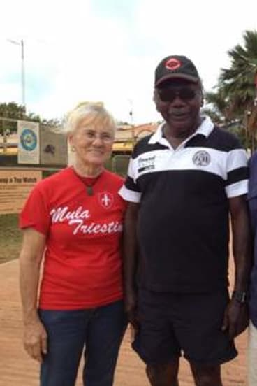 Search team … Ian McIntosh (at right) with Marchinbar traditional owner Terry Yumbulul and Yumbulul's wife Clely in Nhulunbuy,  just before the expedition departed for Marchinbar in July.
