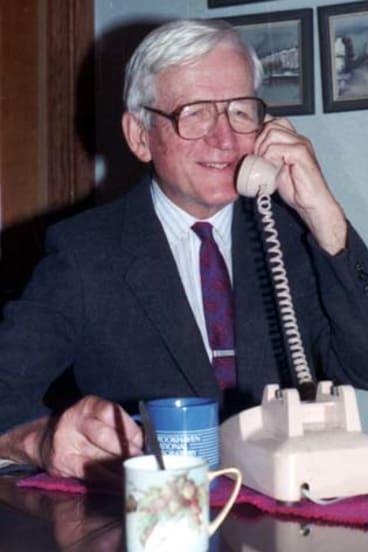 Honoured … Norman Ramsay receiving news of his Nobel prize.