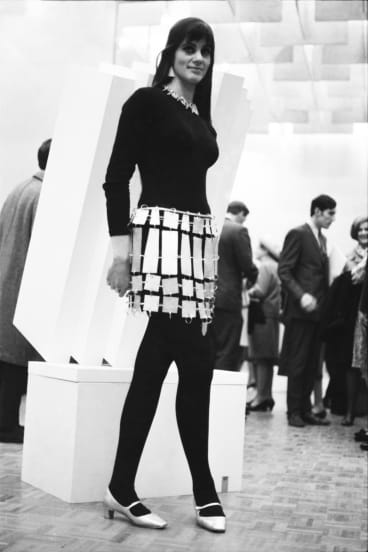 The Age snapped Sydney actress Julian Burbury on opening night of The Field exhibition at NGV in 1968, in front of Nigel Lendon's sculpture Slab construction 11.