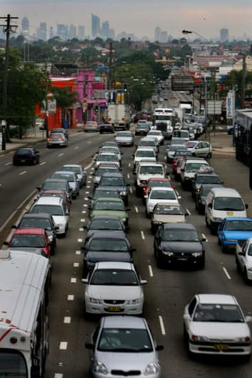 Peak hour traffic along Paramatta Road. The Prime Minister and Opposition Leader have pledged funds for WestConnex as campaign for western Sydney heats up.