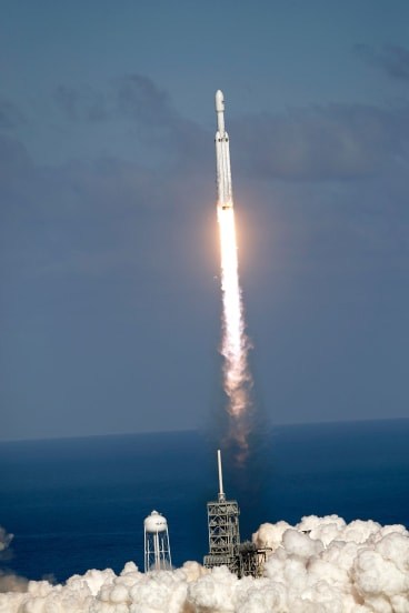 The Falcon 9 SpaceX heavy rocket lifts off from pad 39A at the Kennedy Space Centre in Cape Canaveral, Florida.