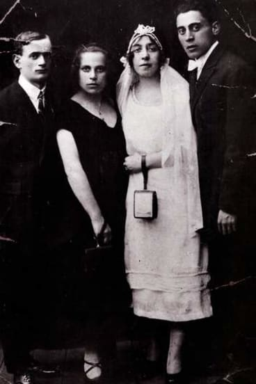 Past lives ... Michael Gawenda's parents (at right) on their wedding day in Lodz in 1925. Next to his mother are his aunt and uncle, who were both murdered during the Holocaust.