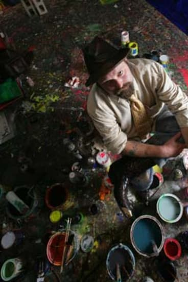 One of Australia's most collectible contemporary artists … Cullen in his studio in 2002.