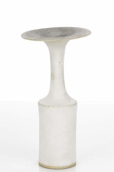 Dame Lucie Rie's white glazed Trumpet Vase.