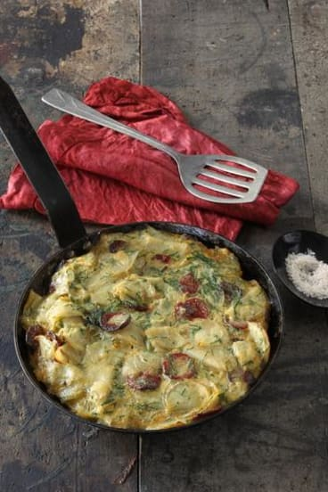 Potato and chorizo tortilla. Photos: Marco Del Grande. Styling: Janet Mitchell.