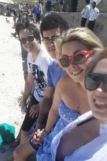 Mitchell Donald, Joshua Mitchell, Emily Hancock and Neenah Thomas added their voices to the anti-shark cull protest.