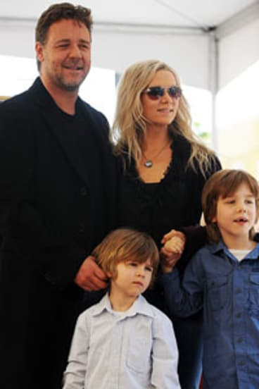Danielle Spencer with husband Russell Crowe and their children Charles and Tennyson at Crowe's Hollywood Walk of Fame ceremony.
