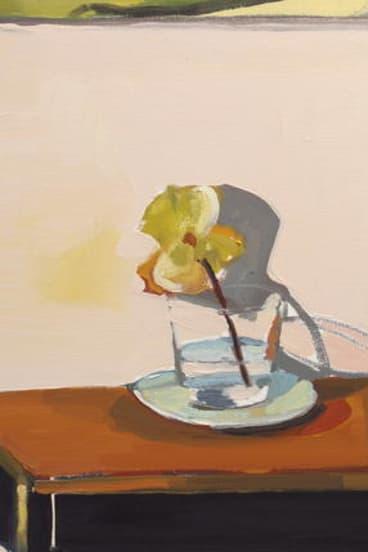 Robert Malherbe's virtuoso canvas <i>Still Life on Bookshelf</i>.