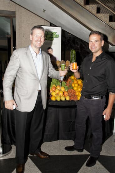 Filmmaker Joe Cross (left) with Lachlan Murdoch at the <i>Fat, Sick and Nearly Dead</i> premiere at the Dendy Opera Quay.