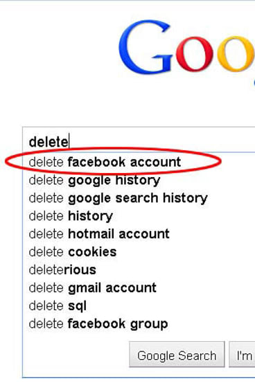 """""""Delete Facebook account"""" comes up as the first option now if you being typing the phrase into Google. But look what's second!"""