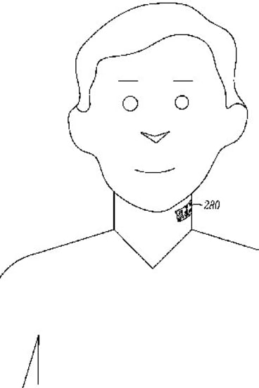 A diagram of the electronic neck tattoo.