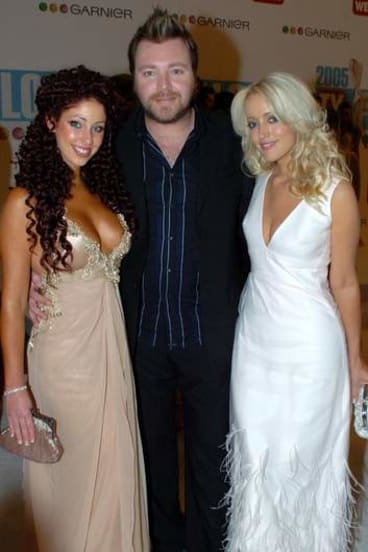 """Ladies man … Sandilands with his ex-wife, Tamara Jaber (at left) and Jackie """"O"""" Henderson at the TV Week Logie awards in 2005."""