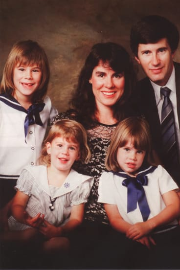 The Foster family in January 1988. From left: Emma, 6, Aimee, 2, Chrissie, Katie, 4, and Anthony.