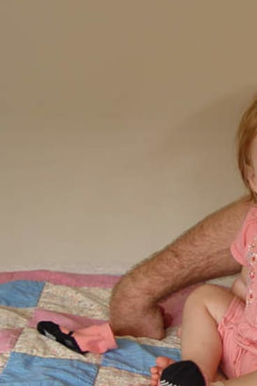 Little Jem … Matt Darling with daughter Jem, the day before her brain surgery.