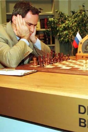 Chess champion Garry Kasparov takes on IBM supercomputer Deep Blue.