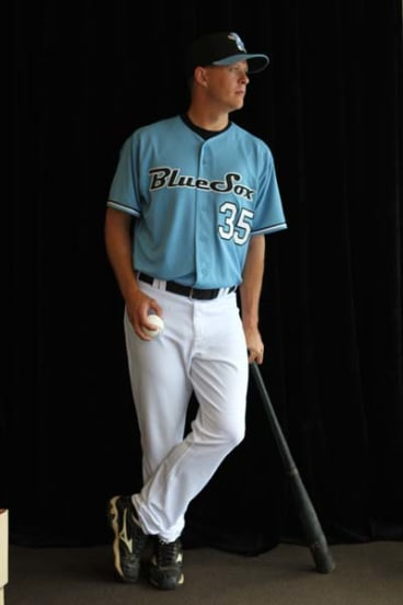 Ready for action ... Sydney Blue Sox pitcher Chris Oxspring.