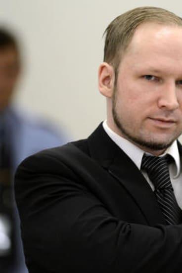 Anders Breivik in court yesterday.