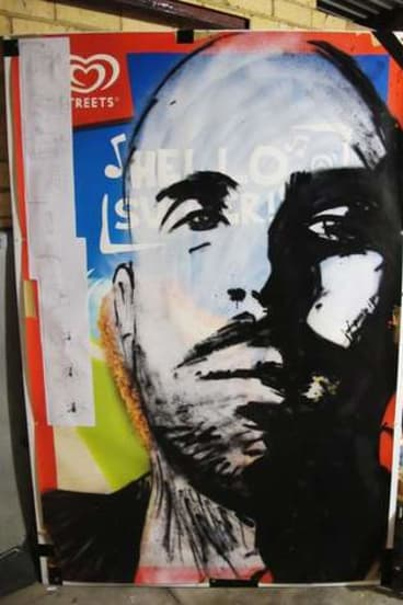 Off the wall: Artist CDH's Archibald entry of anti-advertising campaigner Kyle Magee.