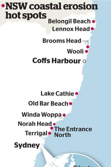 NSW coastal erosion hot spots