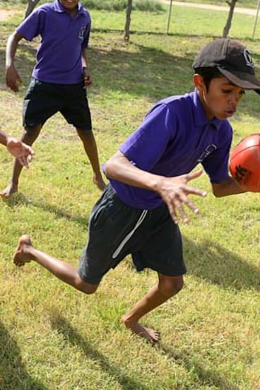 Future champion: Junior Shandley shows his approach to football.