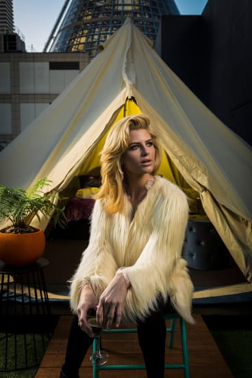 Model Sophie Van Den Akker checks out urban glamping with the decked-out teepees at St Jerome's – The Hotel.