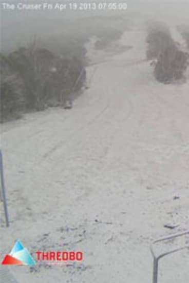 Snow falling at Thredbo.