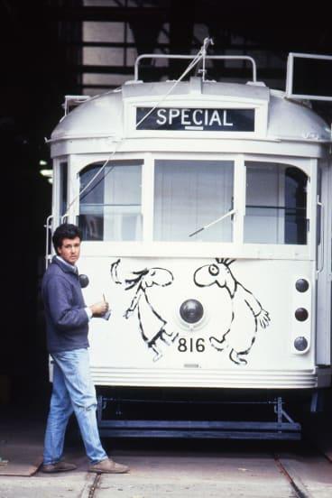 Michael Leunig with the tram before he began work.