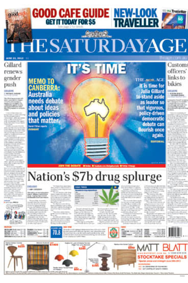 The front page of today's <i>The Saturday Age</i>.