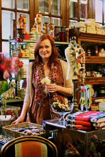 Kim Hurley at her vintage haberdashery store, where customers can ''touch and pat'' items including fabrics and antique ribbon.
