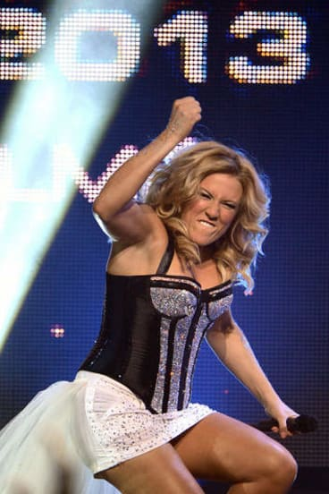 German singer Natalie Horler of the band Cascada celebrates after winning the German trials for the Eurovision Song Contest 2013.