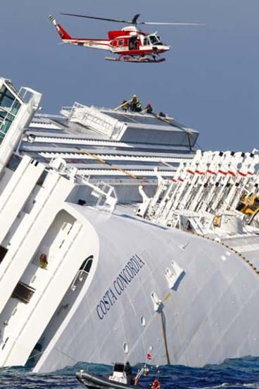 Capsized ... The cruise liner Costa Concordia, sister ship to the Costa Allegra.