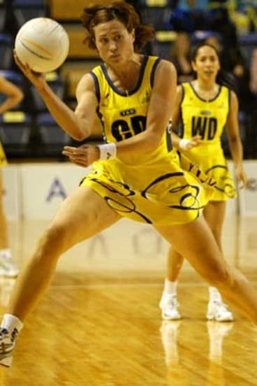 Court star … Alison back in her days as a professional netballer playing for Sydney Swifts in a National League semi-final.